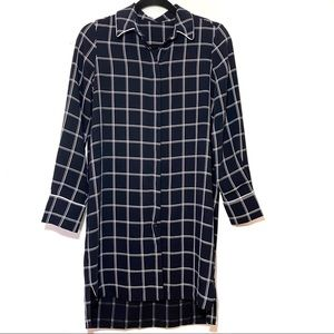 MNG Suit Navy Blue and White Plaid Button Up Dress